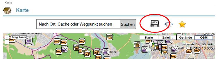 GPX-Download von der opencaching.de-Karte