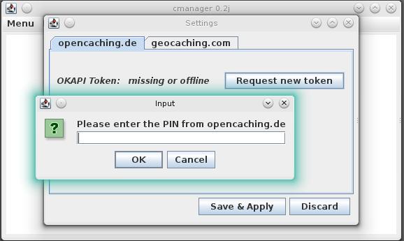 Cachemanager - Zugriff auf Opencaching-Konto erstellen
