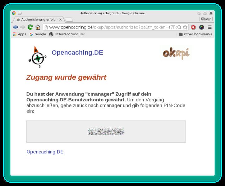 Zugriff auf Opencaching-Konto wurde gewährt